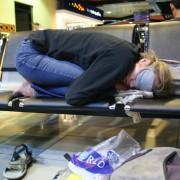 backpacker sleeping